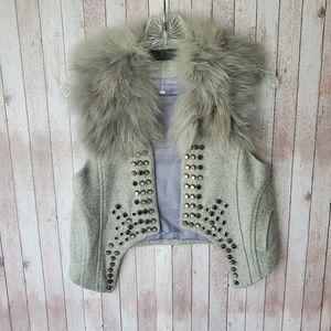 NEW TOV Holy G Grey Studded Fox Fur Vest